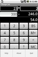 Screenshot of Change Calculator