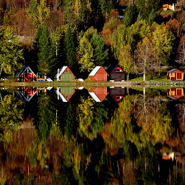 Up side down by Fred Øie - Landscapes Waterscapes ( water, mirror, cabin )