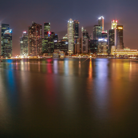Raffles Place by Sofarianty Agustin - City,  Street & Park  Night ( singapore, raffles place )