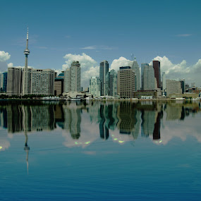 Toronto  by Ron Jnr - Buildings & Architecture Office Buildings & Hotels ( clouds, water, low clouds, reflection, canada, lake, summers day, landscape, building reflections, lake ontario, sky, blue sky, office blocks, buildings, summer, taronto )