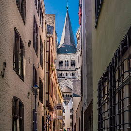 View to the Church by Ole Steffensen - City,  Street & Park  Street Scenes ( cologne, tower, church, street, windows, köln, alley )
