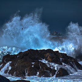 High Surf in the moonlight by Brent Morris - Landscapes Waterscapes