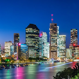 Brisbane night by Yun Sheng Yip - Buildings & Architecture Other Exteriors ( queensland, australia, brisbane, kangaroo point cliff, long exposure, night, landscape )