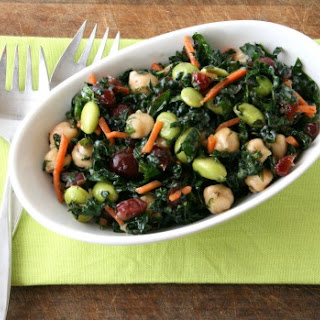 Kale, Cranberry, Chickpea, Edamame Salad (aka Better than Trader Joe's Kale Salad)