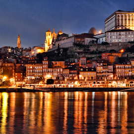 Ribeira do Porto by night by Antonio Amen - City,  Street & Park  Historic Districts