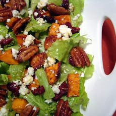 Roasted Sweet Potato Salad with Spicy Pecans and Cider Vinaigrette