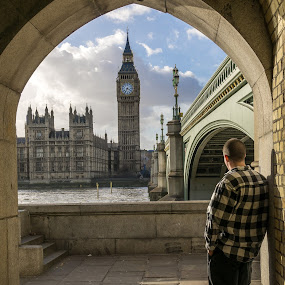 Takeing a minute by Andrew Doyle - City,  Street & Park  Street Scenes ( london, clock, big ben, river thames, golden hour )