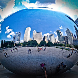 The Bean by James Valluzzi - Buildings & Architecture Statues & Monuments ( city scape, the bean in millennium park, millennium park, the bean, chicago )