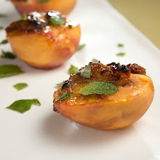 Mario Batali's Warm Peaches with Creamy Date Sauce