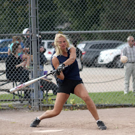 concentration!!! by Sue Connor - Sports & Fitness Baseball ( ball, batting, baseball, team player, batter, women's baseball )