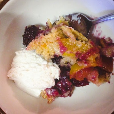 Peach and Blackberry Cobbler