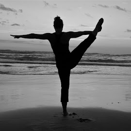 Yoga on the Beach in Black and White by Tyrell Heaton - Sports & Fitness Fitness ( black and white, costa rica, beach, yoga )