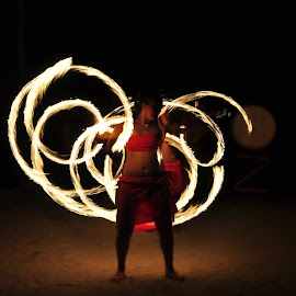 Fire Poi, Rarotonga, Cook Islands by Daryl Bowen - People Musicians & Entertainers