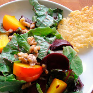 Roasted Beet Salad with Walnut Dressing and Cheese Crisps