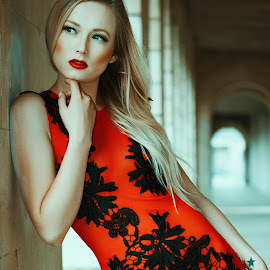 Red by Monika Schaible - People Fashion ( black lace, red, dress, monika schaible, red dress )