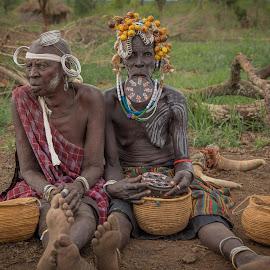Village Ladies by Paul Runze - People Body Art/Tattoos ( valley x tribal x headgear x women, omo, 2014 ethiopia, family )