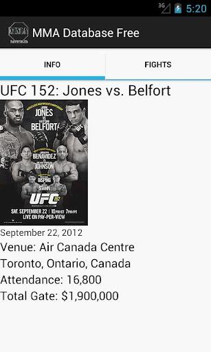 MMA Database UFC Strikeforece