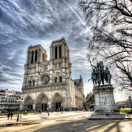 Notre Dame 3 by Ben Hodges - City,  Street & Park  Historic Districts ( pigeons, europe, hdr, notre dame, horse, children, travel, birds, sun, paris, cloud, france, st michel )