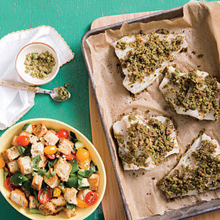 Olive and Pesto-Crusted Cod