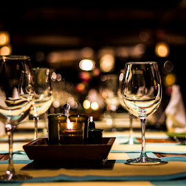 A beautiful table by Bharath Pasupuleti - Artistic Objects Glass ( dinner, wine, glass, table, restaurant )