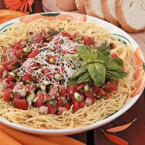 Turkey Sausage And Tomato Sauce Over Pasta Recipe — Dishmaps