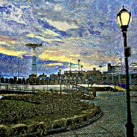 CONEY ISLAND AMUSEMENT PARK by Kendall Eutemey - City,  Street & Park  Amusement Parks ( kendall eutemey, parachute jump, amusement park, blue, photo manipulation, coney island )