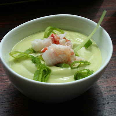 Cold Avocado Soup with Lobster and Scallion