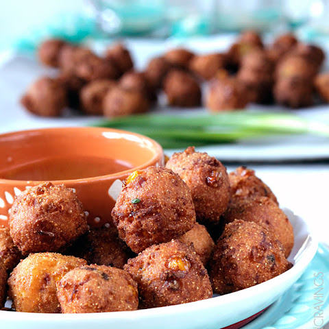 Bacon Pepper Jack Hushpuppies with Sweet Chili Dijon Sauce (& 22 Other Game Day Recipes & Ideas)