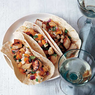 Tacos with Sea Scallops and Jicama-Peanut Slaw