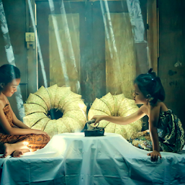 Drying batik pattern by Adam Bishawa - Babies & Children Children Candids