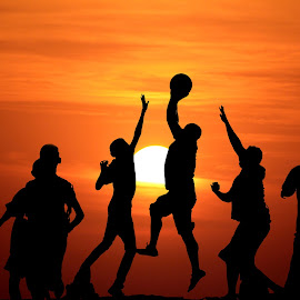 Sports in the set by Manish Ghosh - Digital Art People ( ball, sunset, people )