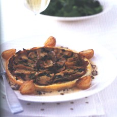 Cep and Onion Tarts with Cep Cream and Parsley Butter Shallots