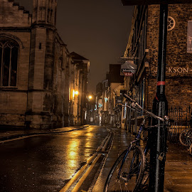 Night bike. by Dave Reynolds - City,  Street & Park  Street Scenes ( #night scene, #york, #bike, #streetlighting, street photography,  )