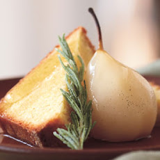 Cornmeal Pound Cake with Rosemary Syrup, Poached Pears, and Candied Rosemary