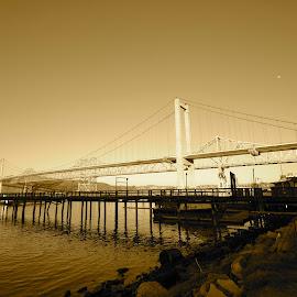 Carquinez Bridge, Crocket, California by Greg Koehlmoos - Buildings & Architecture Bridges & Suspended Structures ( carquinez strait, crocket, dock, vallejo, carquinez bridge )