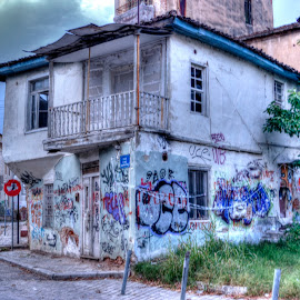An old house by Stratos Lales - City,  Street & Park  Historic Districts ( old, colourful, graffiti, house, abandoned )