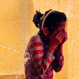 Oh I am so wet by Amit Bhattacharjee - Babies & Children Children Candids ( march, festival of colours, indian, festival, holi )