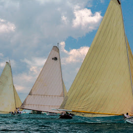 Exuma Regatta - 9102 by John Covin - Transportation Boats ( water, clouds, sailboats, exuma, racing,  )