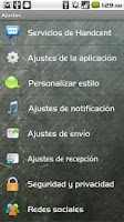 Screenshot of Handcent SMS Spanish Language