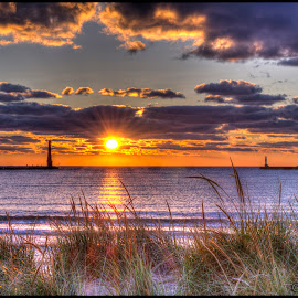 Colorful  ending by Calvin Morgan - Landscapes Sunsets & Sunrises ( sunset, lake  michigan, pere marquette, landscape,  )