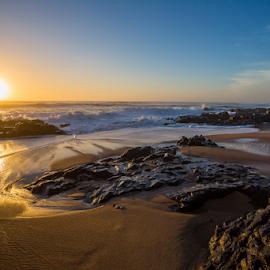 Winkelspruit Beach by Peter de Groot - Landscapes Sunsets & Sunrises ( winkespruit beach, sand, durban, south africa, rock, sunrise, pdgoix, golden hour, sunset )