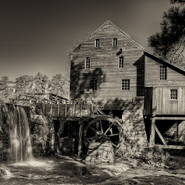 by Walter Farnham - Buildings & Architecture Public & Historical ( sepia, black and white, yates mill, dam, grist mill,  )