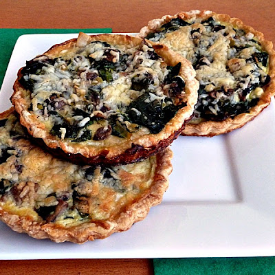 Mini Spinach and Arugula Quiches Adapted from the Essential Vegetarian cookbook by Whitecap Books