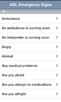 Screenshot of ASL Emergency Signs