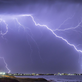 Super Storm Australia by Steve Brooks - News & Events Weather & Storms ( clouds, canon, news, ocean, beach, storm, 6d, lights, beaches, lightning, australia, weather, town, sparks, rocks, media )
