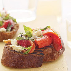 Roasted Pepper, Feta, and Basil Bruschetta