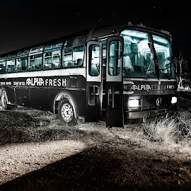 Ghost bus... by Ioannis Metaxakis - Transportation Automobiles ( ierapetra, bus, light painting, night photography, greece, vehicle, night, crete, ghost )