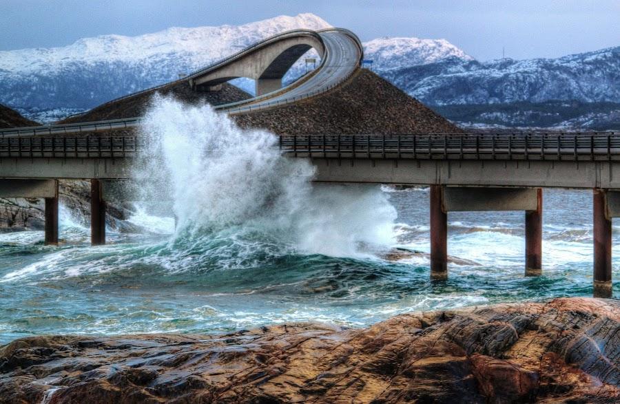 Storm on Atlantic Road. by Jan Helge - Buildings & Architecture Bridges & Suspended Structures ( waterscape, waves, bridge, road, atlantic, storm,  )