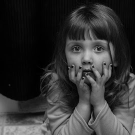 ennui  by Kyle Shields - Babies & Children Child Portraits ( child, girl, b&w, crouch, portrait )