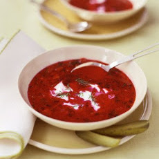 Chilled Red Pepper and Beet Soup with Yogurt and Caraway Seeds